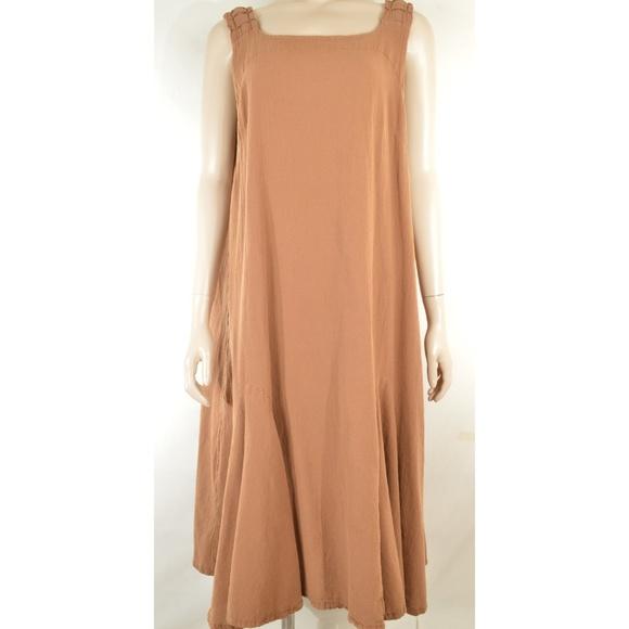 Oh My Gauze! Dresses & Skirts - Oh My Gauze dress sleeveless L/XL brown pleated sh